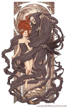 Cool Digital Illustrations by Yannick Bouchard (Hades and Persephone? Art And Illustration, Illustrations And Posters, Fantasy Kunst, Fantasy Art, Elfen Fantasy, Hades And Persephone, Gustav Klimt, Skull Art, Dark Art