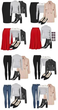 MINI CAPSULE outfit combinations created from a classic capsule wardrobe Source by thecapsuleproj. Capsule Outfits, Fashion Capsule, Mode Outfits, Fashion Outfits, Capsule Wardrobe Women, Travel Outfits, Ootd Fashion, Classic Wardrobe, Classic Outfits
