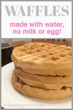 Freezer-Friendly Dairy-Free and Egg-Free Waffles Recipe at Milk Allergy Mom. Egg Free Waffle Recipe, Egg Free Recipes, No Dairy Recipes, Waffle Recipes, Baby Food Recipes, Simple Vegan Waffle Recipe, Dairy Free Desserts, Dairy Free Snacks, Pancake Recipes