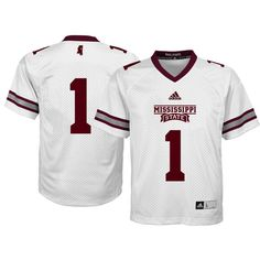 adidas Youth Mississippi State Bulldogs White #1 Replica Jersey, Size: Medium, Team