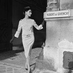 A model at Givenchy, 1950s.