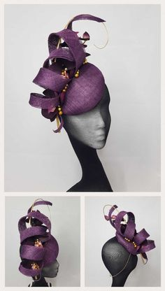 Antonia - a sinamay button, sinamay loops with hand curled gold quill, silk orchids and hand sewn bead detail.Women S Affordable Fashion WebsitesAntonia I love purple therefore I live this gfascinator Sinamay Hats, Millinery Hats, Fancy Hats, Cool Hats, Fascinator Diy, Purple Fascinator, Silk Orchids, Crazy Hats, Church Hats