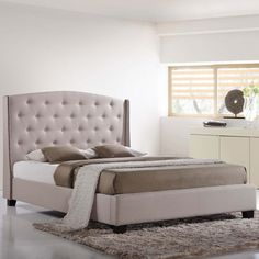 LYDIA QUEEN BED IN SKY GRAY - Mocofu