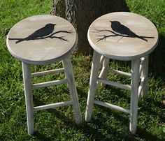 Birds On Branches Stencil & Wooden Stools .......... #DIY #stool #chair #stencil #paint #chalkpaint #stain #wax #furniture #decor #crafts