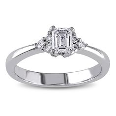 Miadora 14k White Gold 1/2ct TDW Emerald Cut Diamond Engagement Ring (G-H, I1-I2) - Overstock™ Shopping - Top Rated Miadora Engagement Rings