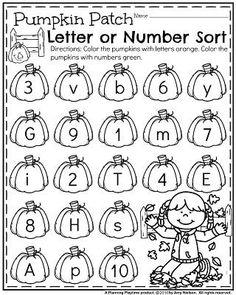 October Preschool Worksheets - Pumpkin Number or Letter Sort. Pre K Activities, Preschool Learning Activities, Preschool Themes, Preschool Printables, Kindergarten Worksheets, Preschool Assessment, Vocabulary Activities, Fall Preschool, Preschool Math
