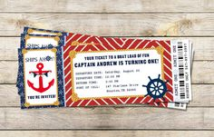 Nautical Birthday Party Boarding Pass Invitation - DIY Printable