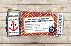 Nautical Birthday Party Boarding Pass Invitation - DIY Printable