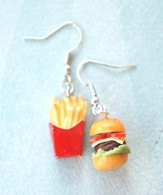 burger and fries dangle earrings