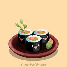 GIF Sushi as you never seen it before! Kimbap, Sushi Art, Food Drawing, Sushi Drawing, Sushi Recipes, Logo Food, Cute Gif, Japanese Food, Japanese Gif