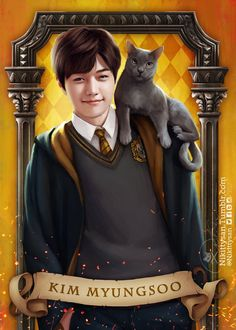 "The sorting hat was barely on his head before announcing ""Hufflepuff! Loyal, hardworking and kind, Myungsoo is a true Hufflepuff through and through, and at the hat's declaration,. Infinite Band, Kim Myungsoo, Infinite Members, Boy Idols, Kpop Drawings, Woollim Entertainment, Elephant Art, Harry Potter Universal, Kpop Fanart"