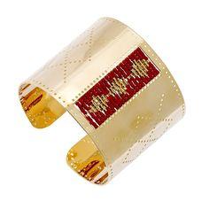 Bracelet manchette perforé (rouge)