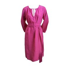 YVES SAINT LAURENT fuchsia dress with woven rose pattern