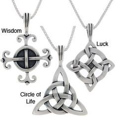 @Overstock - Always carry the luck of the Irish with this beautiful Celtic sterling pendant in your choice of Circle of Life, Wisdom, or Luck symbols. This 18-inch long pendant necklace is made of sterling silver and was wax molded for intricate knot work accents.http://www.overstock.com/Jewelry-Watches/Choice-of-Sterling-Silver-Celtic-Luck-Necklaces/2085498/product.html?CID=214117 $24.29