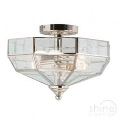 Elstead Lighting 2 light semi flush ceiling light, Old Park PN Semi Flush solid brass traditional ceiling light.  Finished in polished nickel with glass panels.   2 x 60w ES (E27) Lamp (Not Included)  Height: 230mm  Diameter: 320mm £110.70