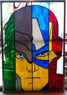 Hulk, Thor, Captain America and Iron man stained glass