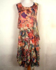 euc Hoyoso layered Ruffled Floral summer Dress colorful Hippie Boho 12 #Hoyoso