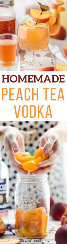 Homemade Peach Tea Vodka is an easy and fun DIY liqueur. Easily made by infusing neutral spirits with peaches and black tea, this is the perfect mixer for so many summer cocktails!