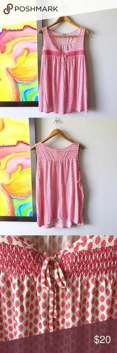OLD NAVY Prairie Pink Spring Top Worn once. Has the feel of cotton but poly for a nice drape. Cute with jean shorts for summer frolicking. Pretty embroidered details and ultra feminine print Old Navy Tops