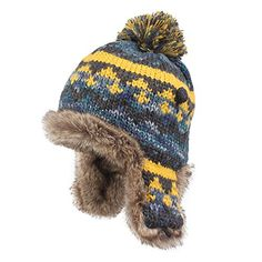 Kenmont Winter Women Lady 100% Hand Knit Faux Fur Earflap Beanie Hat Ski Cap (Navy Blue) -- Want additional info? Click on the image.