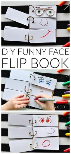This DIY Funny Face Flip Book is simple to put together and will keep the kids creatively entertained all afternoon. - This DIY Funny Face Flip Book is simple to put together and will keep the kids c. Summer Activities For Kids, Craft Activities, Toddler Activities, Diy For Kids, Summer Kids, Babysitting Activities, Summer Food, Activity Toys, Diys For Summer