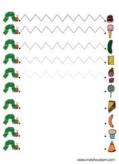 graphisme la chenille qui fait des trous fiche à imprimer Preschool Writing, Preschool Art, Eric Carle, Pre Writing, Writing Skills, Handwriting Activities, Activities For Kids, Camille La Chenille, Very Hungry Caterpillar Printables