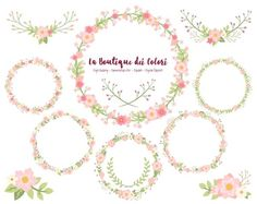 """""""Pink Flower Wreath Clipart, cute digital graphics provided in PNG format. These are perfect for Personal and Small Business Commercial Use."""""""