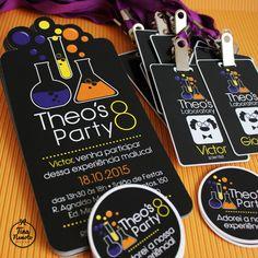 Invitation - Crazy scientist party • Convite personalizado do Theo para os amigos • Tema: Cientista Maluco.
