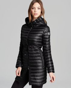Moncler Womens Black Barbel Hooded Quilted Down Puffer Coat