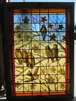 STUNNING ANTIQUE AMERICAN STAINED GLASS WINDOW BIRDS 36X50 ARCHITECTURAL SALVAGE
