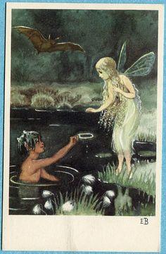 X5458 Elsa Beskow postcard, Fairy and Troll, Bubbelimuck, WRitten on | eBay. $9.99
