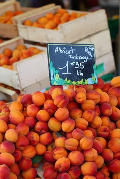 Apricots, farmers' market in Morestel, France.
