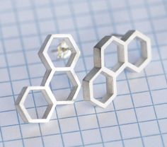 """Sterling Silver Hexagon Earrings """"Quilted Silver"""" by Melanie Augustin : Kimono Reincarnate"""