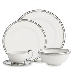 A variation on our popular Tuscan dinnerware, the Perlina Collection is made fro. A variation on our popular Tuscan dinnerware, the Perlina Collection is made from white ceramic wit Fine Dining, Pewter, White Ceramics, Luxury, Tableware, Gifts, Accessories, Beautiful, Dinnerware Ideas