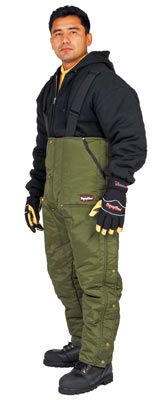 RefrigiWear, Inc.: Overalls, Insulated Quilt Lined : Iron-Tuff™ Extreme Cold Weather Low Bib Sage Green Overalls - Rated to -50°F-Cold Weather Workwear / Warm Weather Workwear: Cooling Vests, Hi Vis Jackets, FR-AR Workwear, Arc Flash