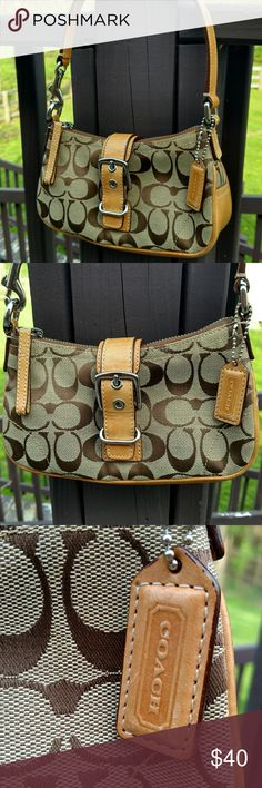 COACH Small Signature Hobo. Adorable Small Coach hobo with signature print and honey leather trim. This is still in great condition. Approximately 5x3x2. Little wear on inside and out. Small marks on bottom.  Please see pictures. Adorable summer bag. Coach Bags Hobos