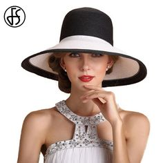 FS Summer Hats For Women Beach Straw Hat Wide Large Brim Sun Visors Fashion Black And White Patchwork Color Chapeu Feminino Hat For Man, Girl With Hat, China Fashion, Fashion Black, Black And White Hats, Summer Hats For Women, Outfits With Hats, Woman Beach, Casual Summer Outfits