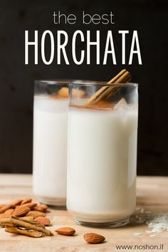 How to Make the Best Authentic Mexican Horchata ⅓ cup uncooked, long-grain white rice 1 cup almonds 1 cinnamon stick 5 cups water, divided cups hot, 2 cups cold) ½ cup concentrated simple syrup parts sugar, 1 part water) Mexican Dishes, Mexican Food Recipes, How To Make Horchata, Smoothie Drinks, Smoothies, Mexican Horchata, Yummy Drinks, Yummy Food, Comida Latina