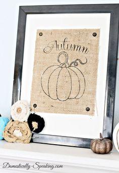 Adorable autumn pumpkin printed on burlap