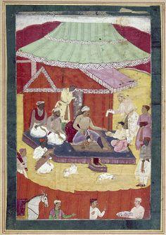 Jahangir inspecting artists at a camp