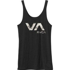 RVCA Women's  On Edge Tank Top ($23) ❤ liked on Polyvore featuring tops, black, fitted black top, black tank top, rvca tank, fitted tops y black singlet