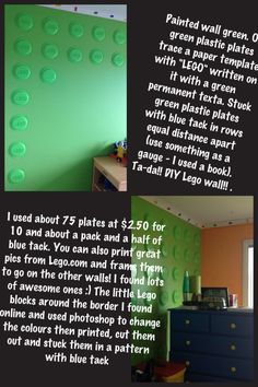 """Lego bedroom on a budget! My Lego crazy son wanted a """"Lego"""" bedroom... This is what I came up with..."""