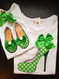 Mandarina Camisetas: Zapatos de vichy verde