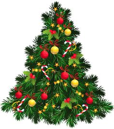 Transparent Christmas Tree with Ornaments PNG Picture