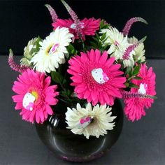 """Photo of House of Stemms - """"A very unique Hello Kitty inspired floral arrangement of perfect ten hot pink and white gerbera daisies. Hello Kitty Wedding, Pink Flower Arrangements, Hello Kitty Themes, Guest Book Table, Same Day Flower Delivery, Local Florist, Gerbera, 4th Birthday, Birthday Ideas"""