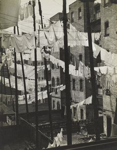Tenements. Funny how washing hanging up seems quite homely and comfortable to look at now.