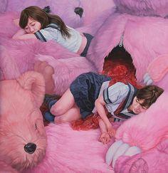 """Dreamlands"" series - Kazuhiro Hori {contemporary figurative artist fantasy illustration teenage girls sleeping among giant stuffed bears painting}"