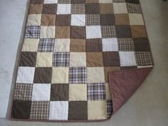 Items similar to Brown Plaid Quilt on Etsy Flannel Quilts, Plaid Quilt, Flannel Blanket, Plaid Fabric, Shirt Quilts, Quilting Projects, Quilting Designs, Quilting Ideas, Old Quilts