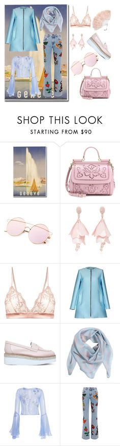 """Geneve travel outfit"" by fashionlovesmia ❤ liked on Polyvore featuring Dolce&Gabbana, Oscar de la Renta, Fleur of England, FAUSTO PUGLISI, Carvela, Alexander McQueen, LUISA BECCARIA, Gucci, Monsoon and contest"