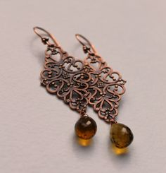 Copper Filigree Charms with Champagne Quartz by AntiquityTravelers